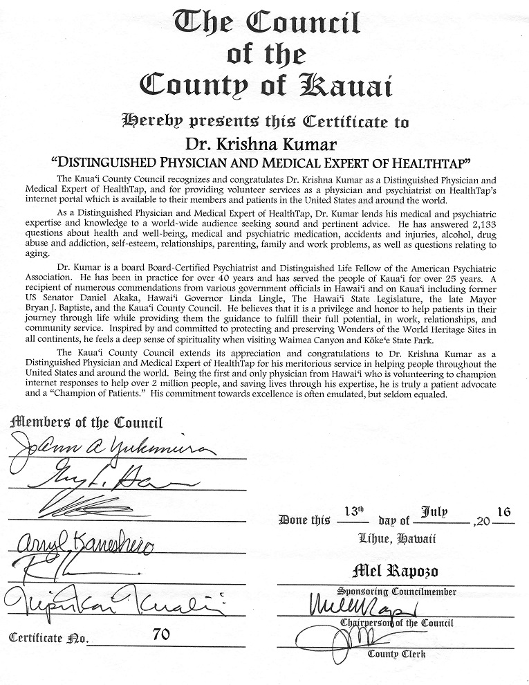 Certificate from Kauai County Council