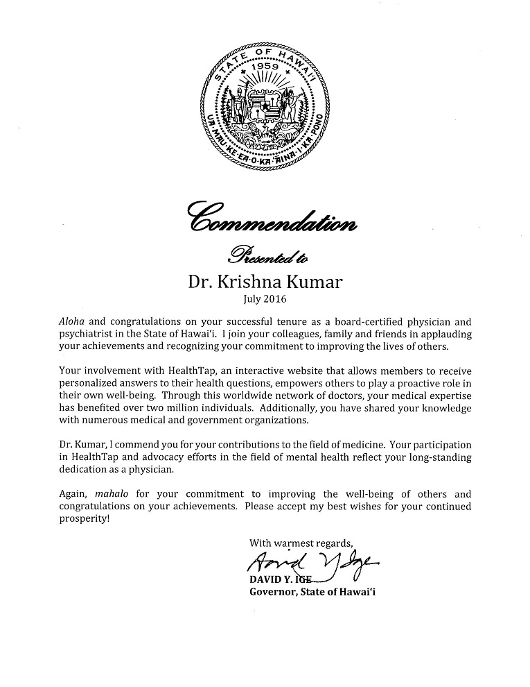 Commendation from Governor Ige, State of Hawaii